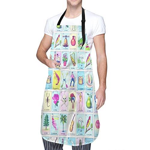 Adjustable Neck Hanging Personalized Waterproof Apron,LoteriaSwimTrunksDrawstringElasticWaist,Kitchen Bib Gown for Men Women with 2 Center Pockets