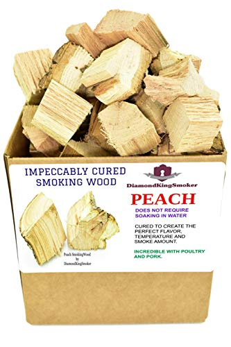 DiamondKingSmoker Smoking Wood Chunks 100% All Natural Barbecue Smoker Chunks for Grilling and BBQ | Large Cut Smoker Chips | Season Air-Dried for Premium Flavor Profile (Peach, 7 lbs)