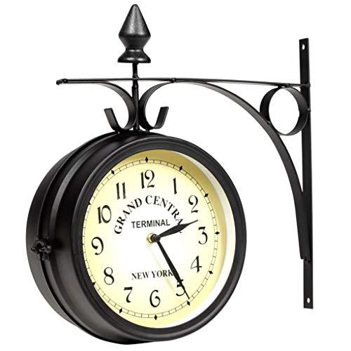 vidaXL Zweiseitige Wanduhr Retro Look Grand Central Bahnhofsuhr Antik Stil Garten Uhr