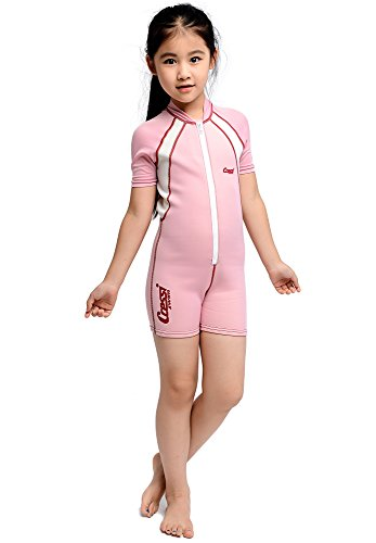 Cressi Shorty Kid Children's Shorty Suit in Ultra Stretch 1.5 / 2 mm Neoprene, Pink / White, 3 Years