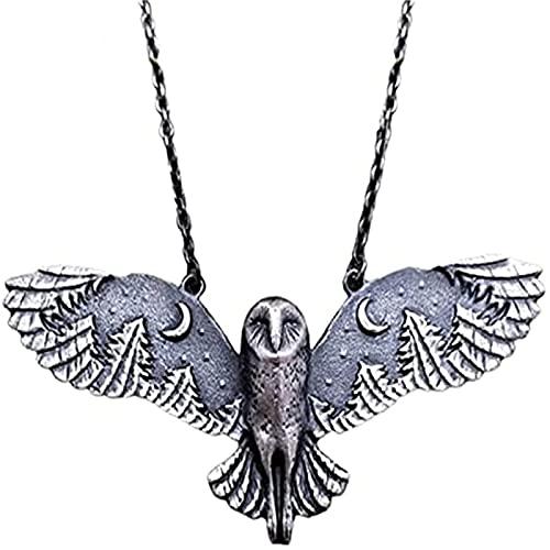wgkgh Collar de búho volador, búho y bosque, susurro creativo vintage de plata, collar personalizado colgante joyería