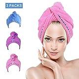 CHIMOO 3 Paquetes de Toallas Turbante para el Cabello, de Microfibra Suave, Secado rápido, algodón Absorbente y Ligero para Mujeres (Rosa y Morado y Azul)