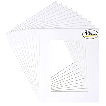 Betus 11x14 White Picture Mats White Core Bevel Cut for 8x10 Pictures - Pack of 10