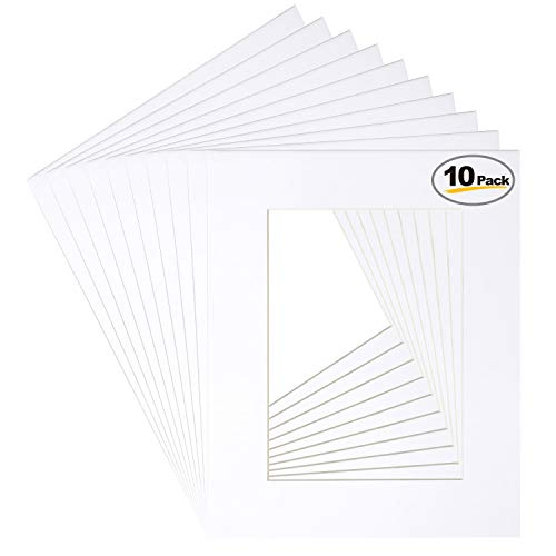 Betus 8x10 White Picture Mats, White Core Bevel Cut for 5x7 Pictures - Pack of 10
