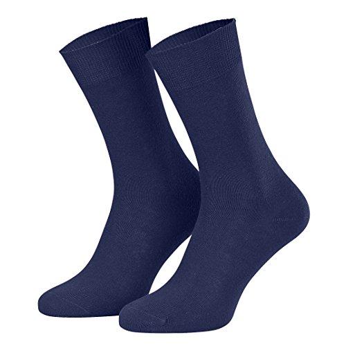 10 pares de calcetines traje - 100 % algodón - Azul marino - 39-42