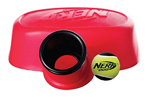 Nerf Dog Hundespielzeug Stomp Launcher, Ballkanone mit Tennisball, mit dem Fuß zu bedienende Ballkanone, rot