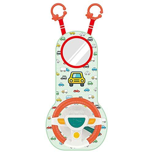 Juguetes de asiento para niños, juguetes de dirección para niños de simulación, juego de volante para el asiento trasero con luces musicales y espejos Asiento de automóvil para viajes, juguetes