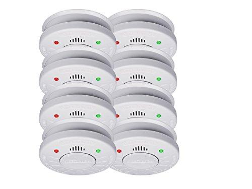 8er-Set SMARTWARES Rauchmelder mit 10 Jahres Batterie - VdS Zertifiziert + Stummschaltfunktion
