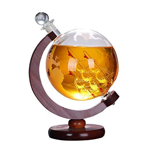 FU LIAN 850ML Whisky Dekanter Globus, 360 ° Drehung, Globusform, mundgeblasen, bleifreies Glas, Dicke Basis, handgemachtes Geschenk für Brandy- und Schnapsliebhaber