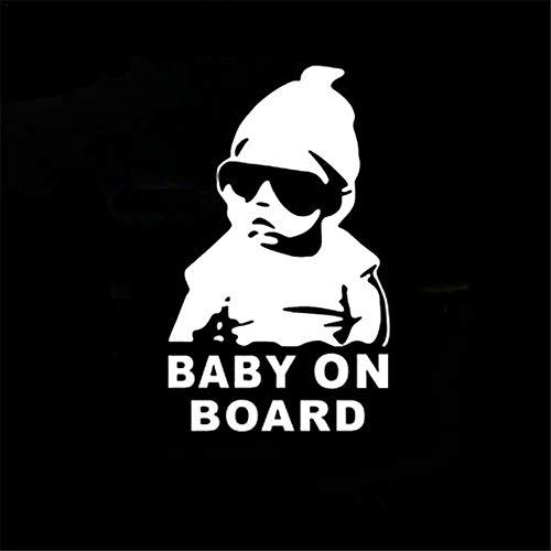FORYOURS Auto Aufkleber, Baby On Board, UV Wetterfest Wasserfest Auto Aufkleber, Kind Mit Sonnenbrille Hangover Für Fenster Entfernbarer Sticker DIY