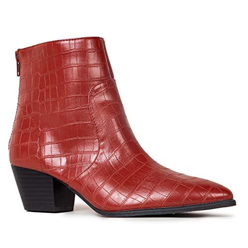 Qupid Mystique Booties for Women - Brick Faux Croc Low Heel Pointed Toe - 8