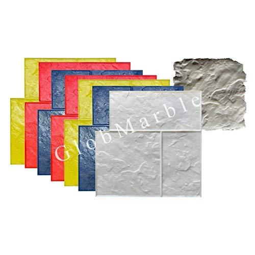 GlobMarble 8 pc Ashlar Concrete Stamp Set Slate Texture Imprint Stamp Mats SM 3005
