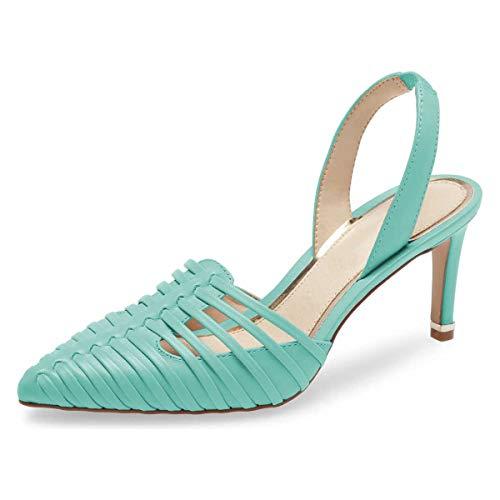 FSJ Women Gladiator Pointy Toe Sandals High Heels Slip On Dressy Pumps Slingback Elastic Retro Prom Shoes Size 8.5 Turquoise