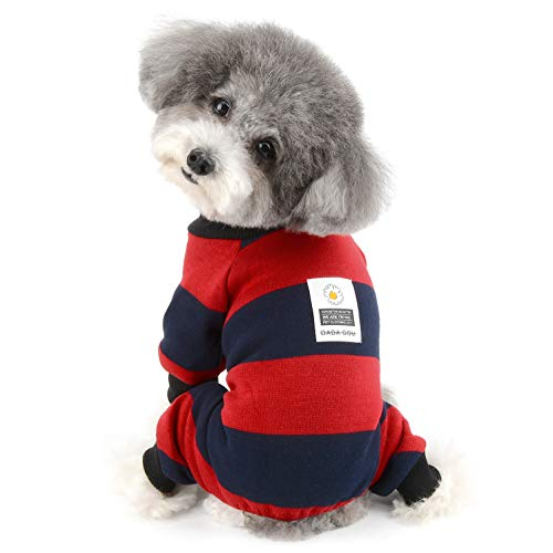 Ranphy Stripe Pet Dog Clothes Pajamas Daisy Coat Jumpsuit Soft Cotton Pjs Puppy Sweater Shirt Doggie Warm Knitted Onesie Outfit Sleeping Rompers Pet Apparel Red L