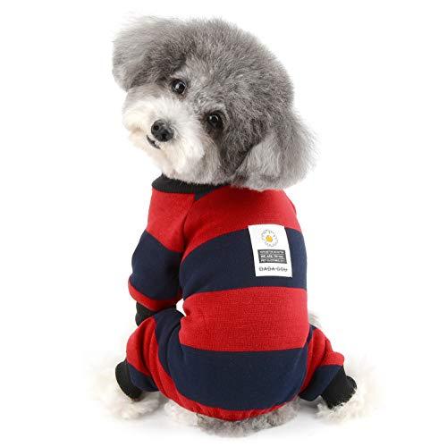 Ranphy 犬服 ペット服 つなぎロンパース パジャマ 縞柄 暖かい 綿製 パジャマ かわいい おしゃれ ニットセーター 洋服 ドッグウェア 防寒 四つの足 ジャンパー 猫服 パーカー フリース コスチューム 犬の服 レッド L