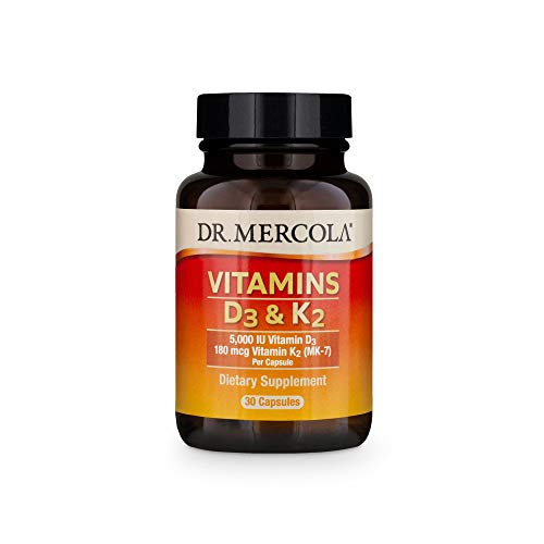 Dr. Mercola, Vitamins D3 & K2 Dietary Supplement, 30 Servings (30 Capsules), Supports Heart Health, Immune Support, Non GMO, Soy Free, Gluten Free
