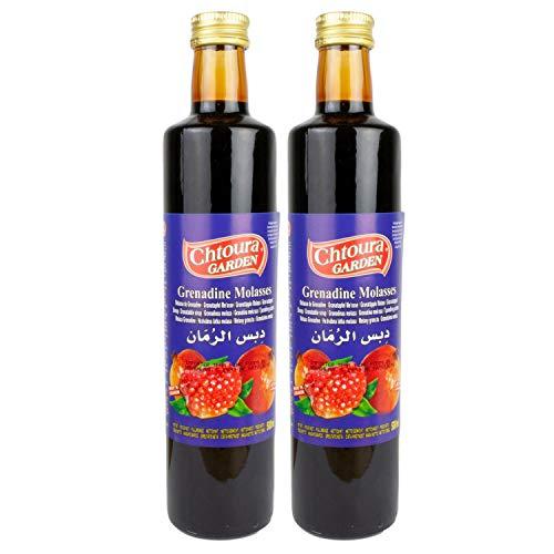 Chtoura Garden - Original Granatapfelsirup - Granatapfel Sirup zum Verfeinern und Veredeln von Soßen und Dips - Grenadine im 2er Set á 500 ml Glasflasche