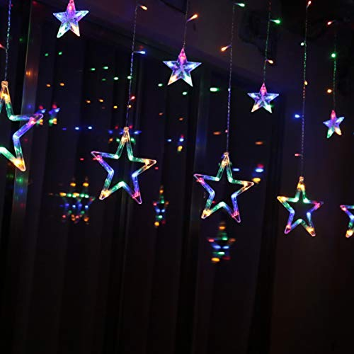 LED Lichterkette 12 Sterne, Lichtervorhang weihnachtslichter Sternenvorhang 138 LEDs 8 Modi Für Innen Außen, Weihnachten, Party, Hochzeit, Garten, Balkon, Deko (Farbe)