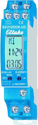 Eltako ELTA Schaltuhr S2U12DDX-UC 2Kanäle mit Display, blau, 18x58 mm