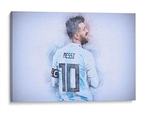 Cuadro decorativo de canvas (lienzo), Leo Messi - Argentina - Deportes & Futbol, montado en bastidor de madera de 4.5 cm de profundidad (estilo galería). 45 x 30 cm. Tamaños adicionales disponibles. Perfecto para decorar casa u oficina. 100% Garantizado.