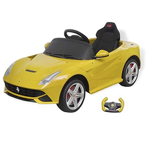 vidaXL Coche Juguete Correpasillos con Control Remoto Ferrari F12 Amarillo 6V