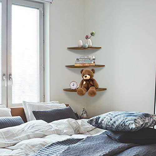Wall Mount Floating Corner Shelves Set of 3, Hanging Rustic Wall Storage Shelf Decor for Bedroom, Living Room, Bathroom, Kitchen