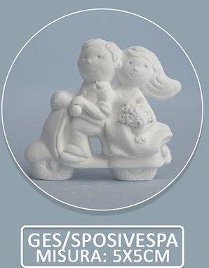 Confezione 36 pezzi, Bomboniera gessetto profumato, COPPIA SPOSI su vespa (CKGESspo/ves)