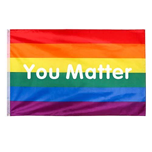 Banderas Orgullo Gay - You Matter - Arco Iris Bandera LGBT, 3 x 5 pies