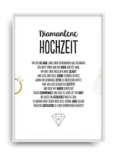 Geschenk Karte DIAMANTENE HOCHZEIT Kunstdruck 60. Hochzeitstag Diamant Brautpaar Bild ohne Rahmen DIN A4