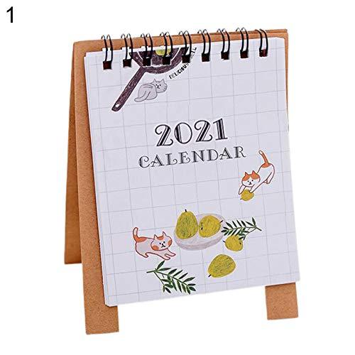Ordertown Portátil 2021 Mini Diseño De Dibujos Animados Sala De Estudio Mesa Escritorio Papel Calendario Programador Diario 1