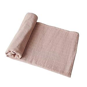 crib bedding and baby bedding mushie muslin baby swaddle blanket | 100% organic cotton (blush)