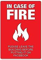 火の場合錫サイン壁の装飾金属ポスターレトロプラーク警告サインオフィスカフェクラブバーの工芸品