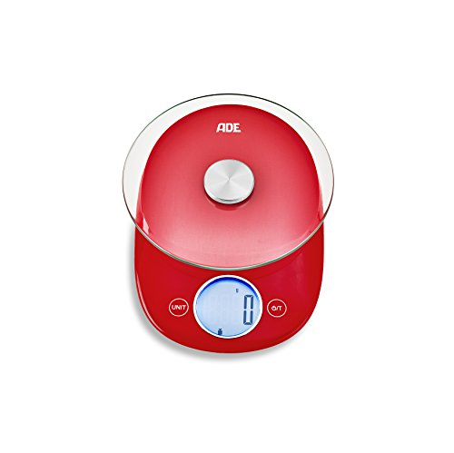ADE Digitale Küchenwaage KE 1704 Carla. Elektronische Waage für bis zu 5 kg. Kompaktes Design mit Retro-Charme. Runde Wiegefläche aus Sicherheitsglas. Sensor-Touch. Inklusive Batterie. Rot