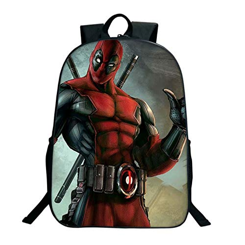 Deadpool Backpack Movie Figure Pattern Student's Large Capacity Schoolbag for Cool Boy Girl