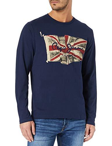 Pepe Jeans Flag Logo LS Camiseta, 583 Temas, S para Hombre