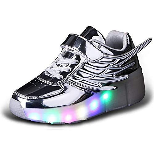 MEFKY Zapatos Patinaje sobre Ruedas con Luces LED Ruedas Zapatos Unisex para Patines Ruedas Niños Zapatillas Skate Técnicas Retráctiles Automáticas con Alas Ángel Intermitentes