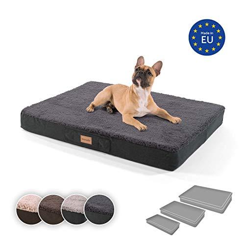 brunolie Balu mittleres Hundebett in Dunkelgrau, waschbar, orthopädisch und rutschfest, kuscheliges Hundekissen mit atmungsaktivem Memory-Schaum, Größe M (79 x 60 x 8 cm)