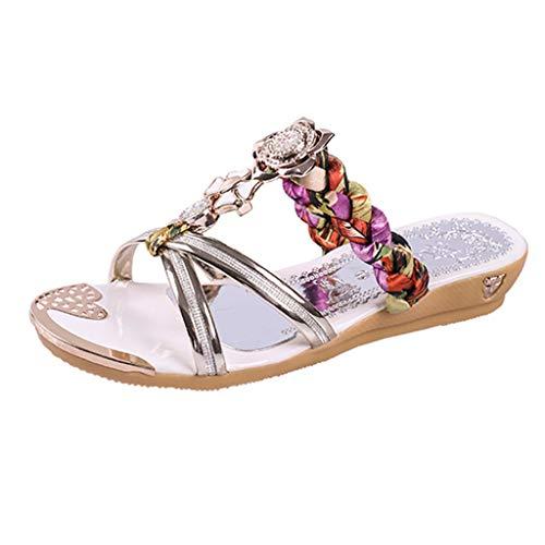 TIFIY Sandalen Damen, Clip Toe Keilkristall Outdoor Slipper Damen Slides Schuhe Sandalen Pantoletten (Gold,35 EU