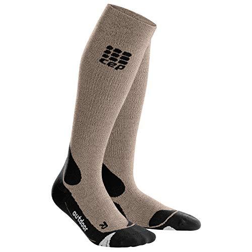 CEP – HIKING MERINO SOCKS für Damen | Warme Merino Wandersocken knielang in beige / schwarz | Größe II