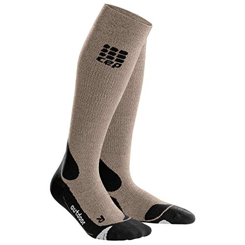 CEP - Hiking Merino Socks für Herren | Warme Merino Wandersocken Knielang in beige/schwarz | Größe IV