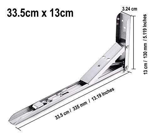 Muur gemonteerde opvouwbare plankbeugel, 2 Pack Heavy Duty 90 graden hoek plank ondersteuning beugel vouwen Display plankdrager – (Maatbereik) Max belasting 50Kg (Board en schroeven zijn niet inbegrepen) 33.5cm x 13cm Roestvrij staal