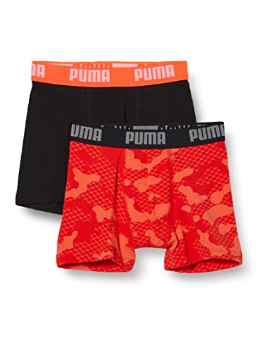 PUMA Boys All-Over Print Camo Kids' Boxers (2 Pack) Boxer Shorts, Black/White, 134-140 (2er Pack)