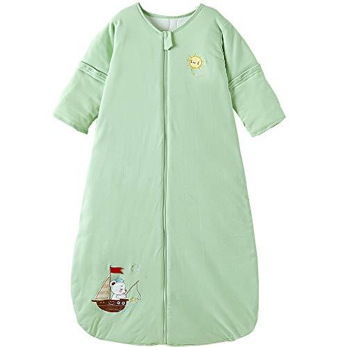 Saco de dormir para bebé de invierno con mangas desmontables, para todo el año, 2,5 tog, barco de vela (18/36 meses, color verde