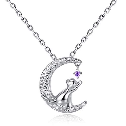 VIKI LYNN Collier argent pendentif chat mignon bijoux femme en argent fin 925 et zircon cadeau noël parfait pour les femmes filles (chat 1)