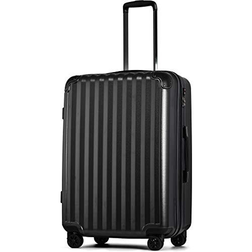 【JP Design】スーツケース キャリーケース キャリーバッグ 超軽量 tsaロック 容量アップ拡張機能付 二枚仕切り ダブルキャスター8輪 LLサイズ ハードキャリー ファスナー (LL, ガンメタリック/BK)