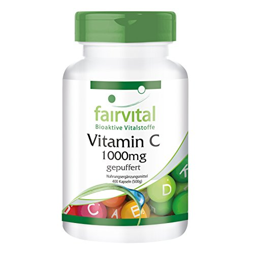 Gebufferde vitamine C 1000 mg HOOG GEDOSEERD - 400 capsules - VEGAN - maagvriendelijk - calcium ascorbaat