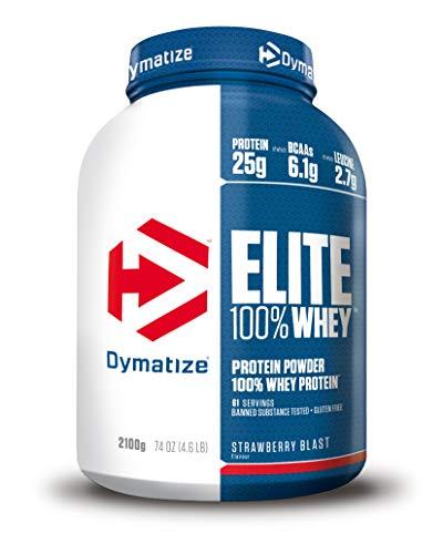 Dymatize Elite Whey Strawberry Blast 2.1Kg, Pulverizador de adecuada Poteína y Baja Azúcar + Proteína de Suero y BCAA ✅