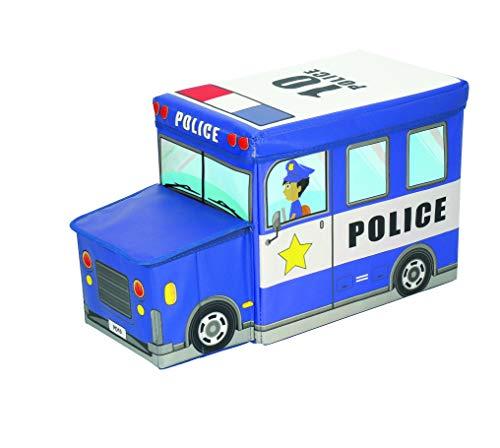 Bieco Aufbewahrungsbox mit Deckel | Polizei Auto 46L faltbar | ca. 49x31x31cm | Spielzeugkiste mit Deckel | Aufbewahrungsbox Kinder | Kisten mit Deckel | Aufbewahrungsbox Groß | Wickeltisch Organizer