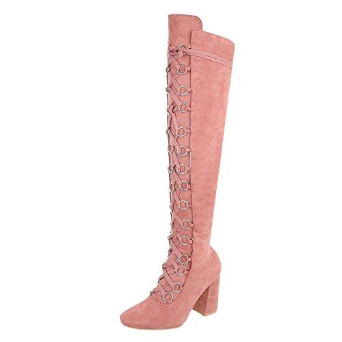 Ital-Design Overknees Damen-Schuhe Overknees Pump Schnürer Reißverschluss Stiefel Pink, Gr 39, Jr-009-