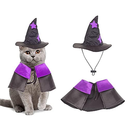 Halloween Cat Costume Purple Witch Cloak Wizard Hat Cat Halloween Accessories Pet Costumes for Cats...